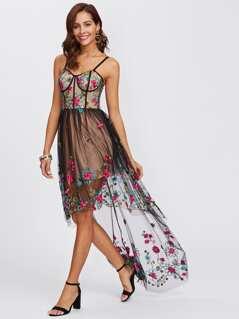 Embroidered Mesh Overlay Dip Hem Cami Dress