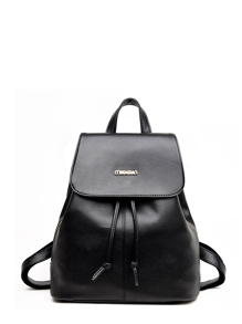 Faux Leather Drawstring Flap Backpack