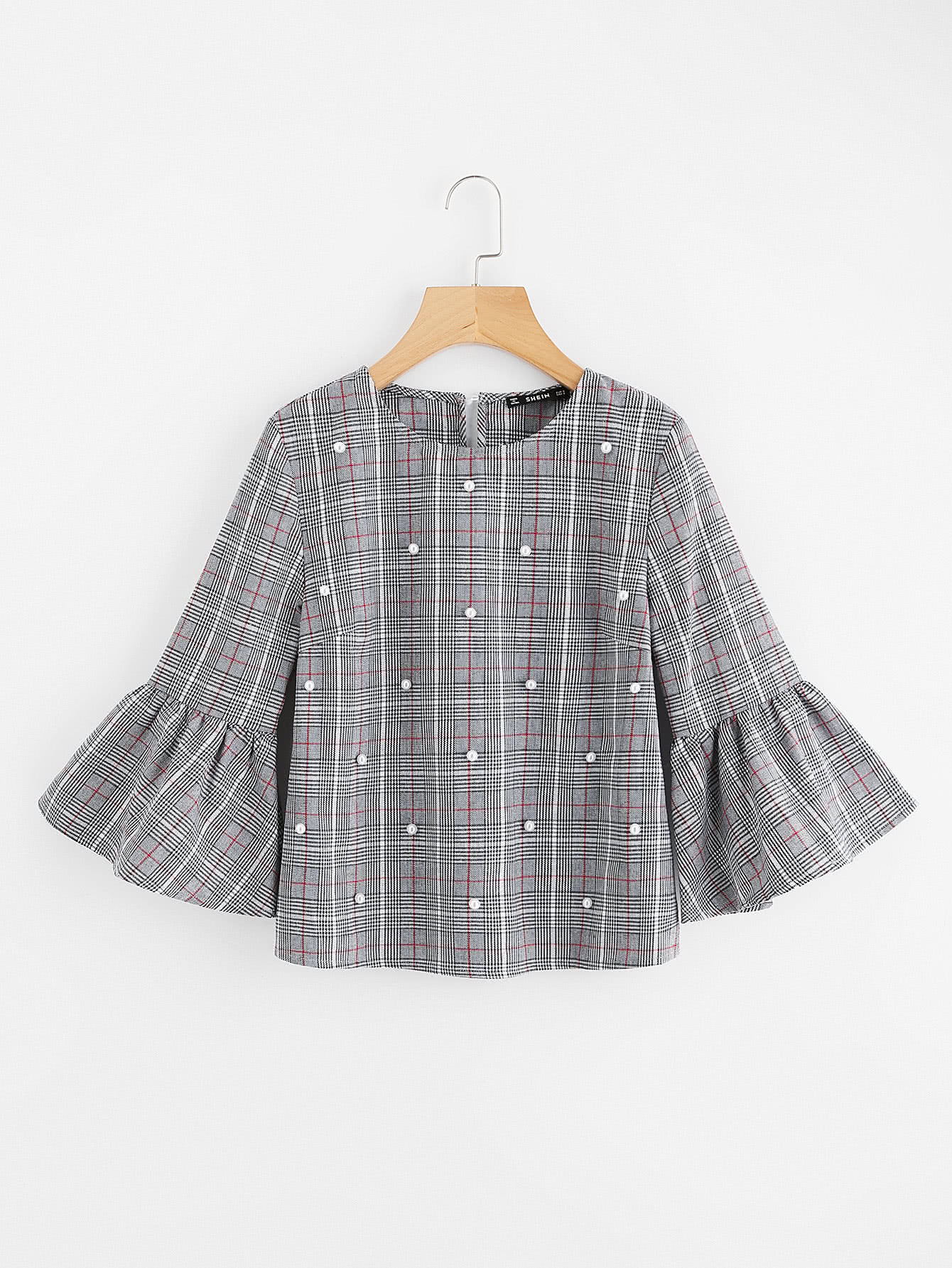 Pearl Beading Trumpet Sleeve Plaid Top pearl beading layered sleeve top