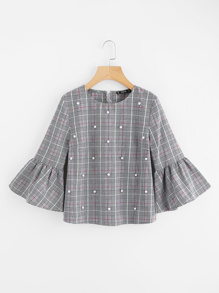 Pearl Beading Trumpet Sleeve Plaid Top