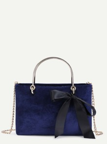Velvet Satchel Bag With Bow