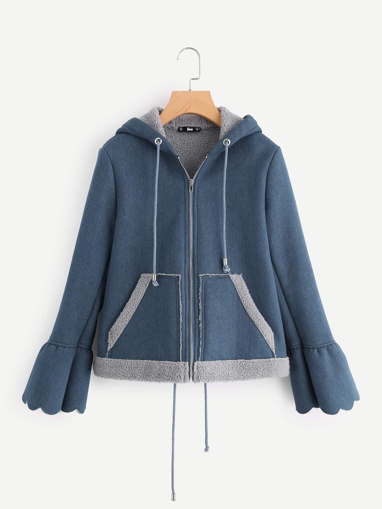 Scallop Bell Cuff Fleece Lined Hoodie Jacket jacket170816703