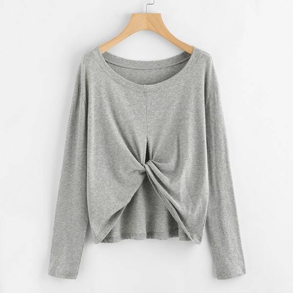Twist Front Multiway Tee, Grey