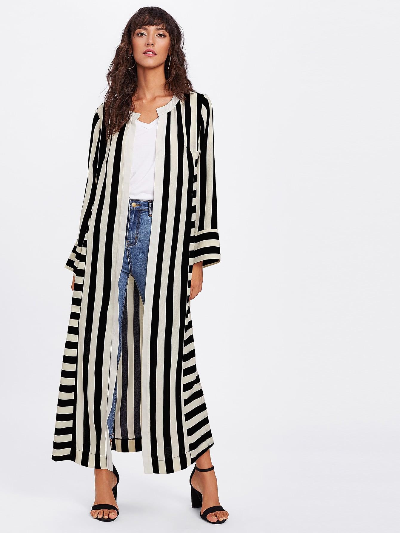 Image of Block Stripe Slit Side Kimono