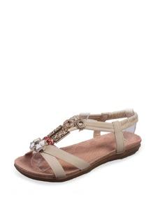 Cross Strap Rhinestone Design Sandals