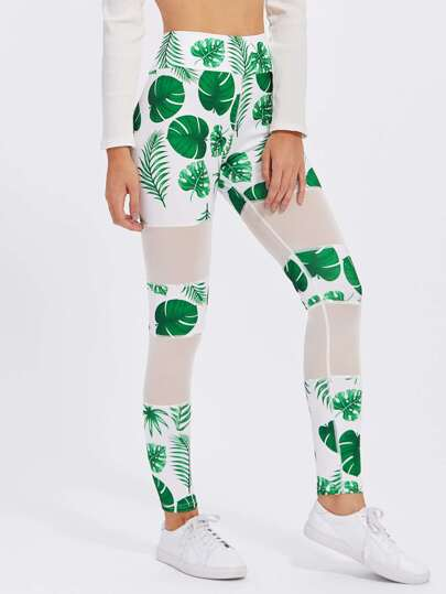 Leggins panel con estampado de hoja