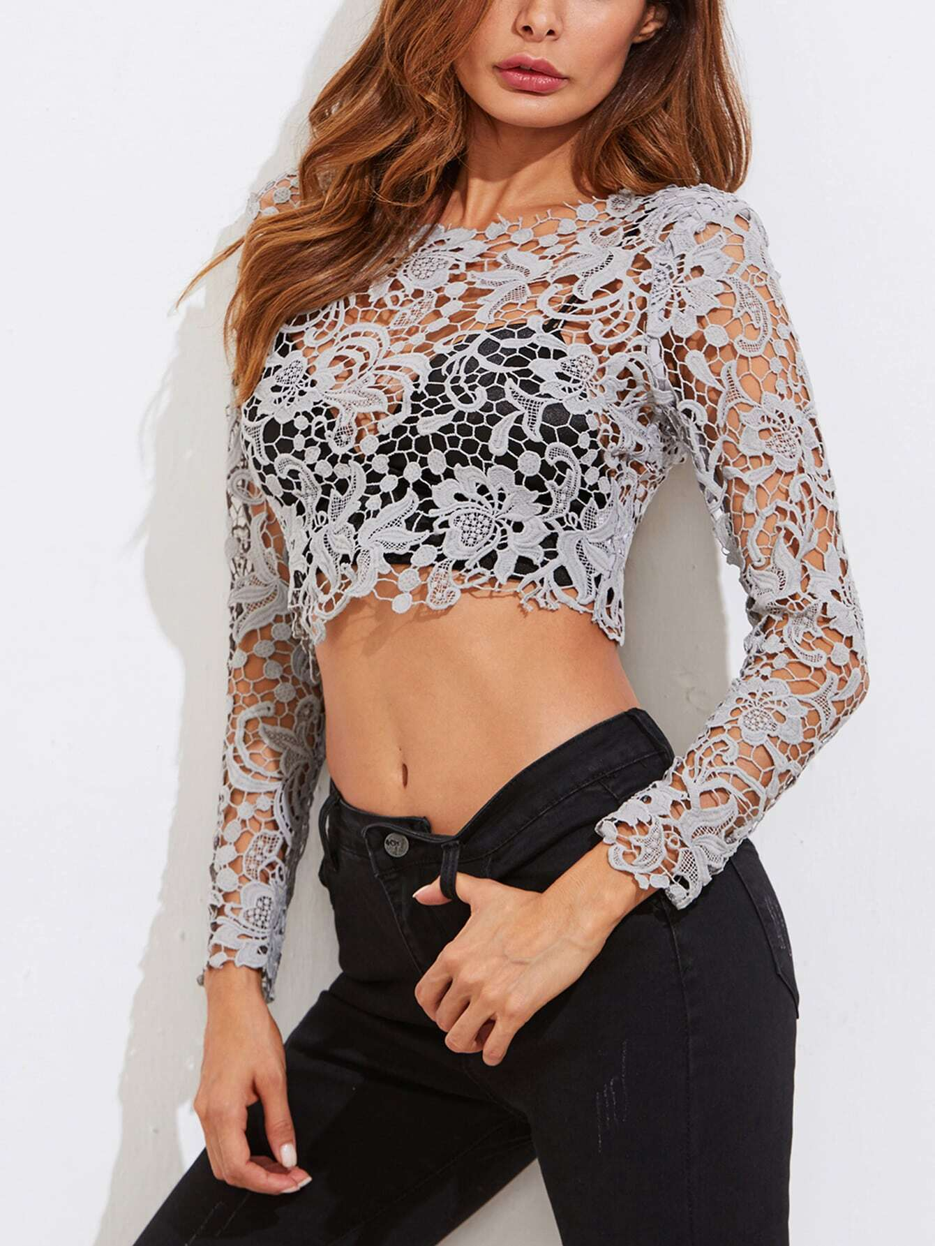 Guipure Lace Exposed Zipper Back Crop Top blouse171019456