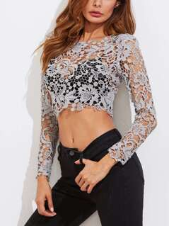 Guipure Lace Exposed Zipper Back Crop Top