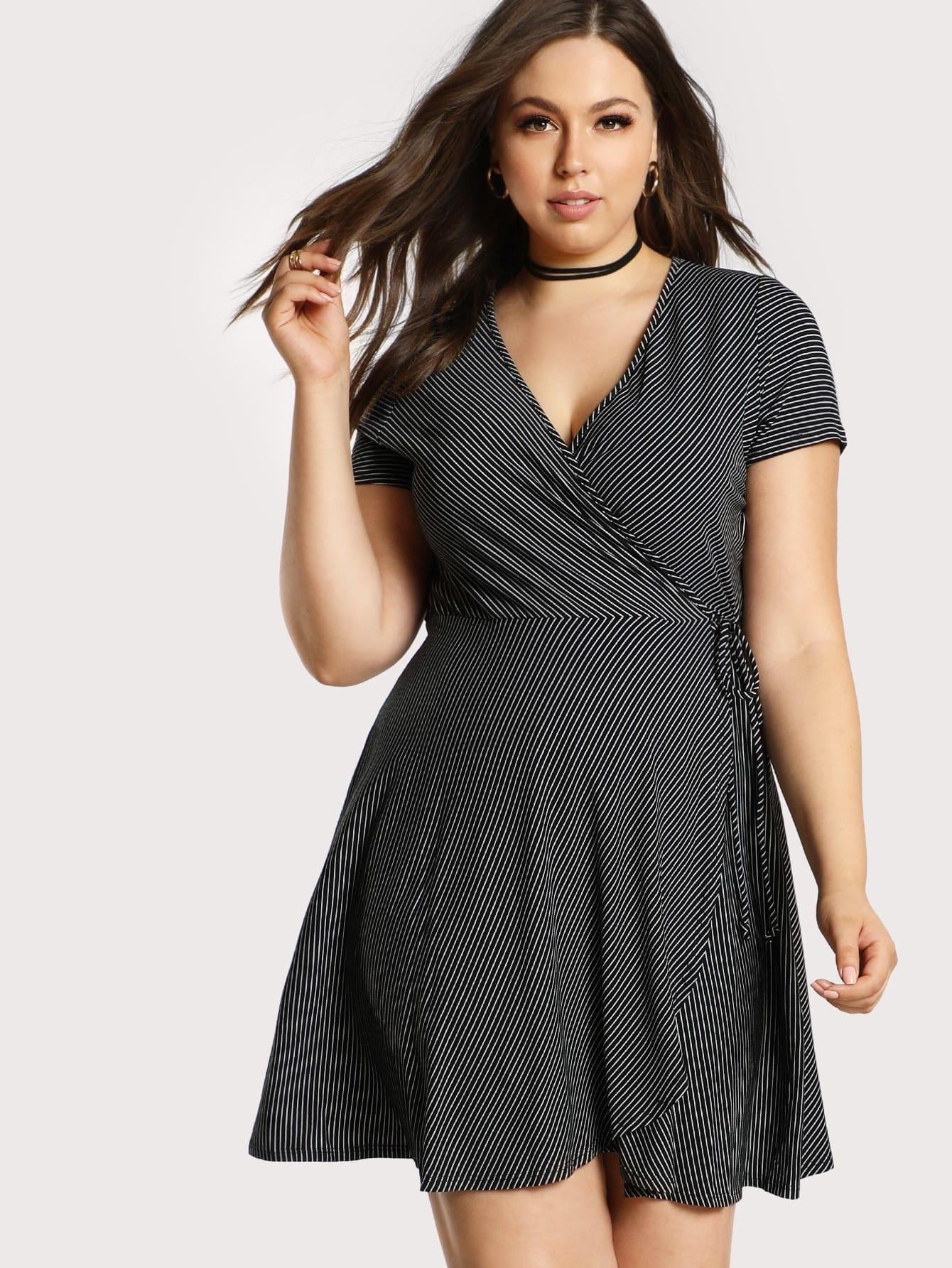 Plus Surplice Wrap Slim Striped Dress