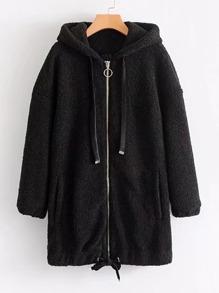 Giacca con cappuccio lungo a pelliccia di pelliccia