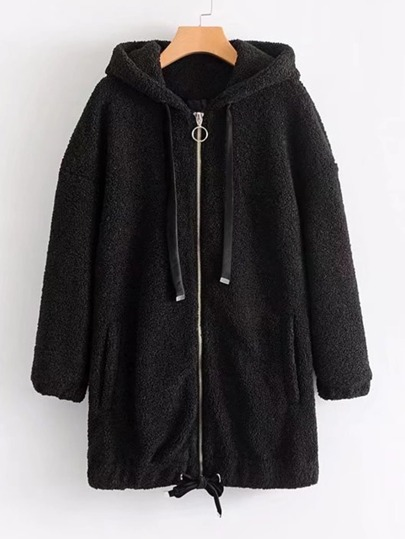 Faux Fur Longline Hooded Jacket