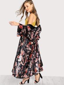 Drop Shoulder Botanical Print Velvet Coat