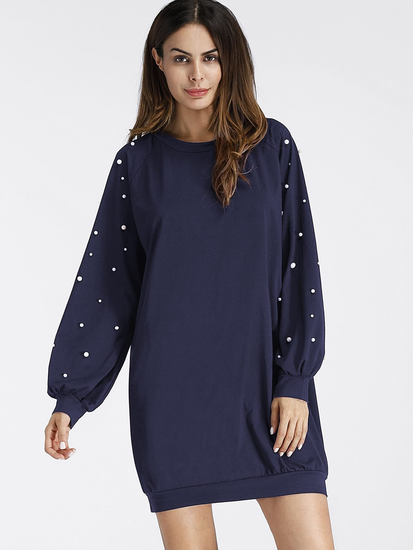 купить Pearl Beading Balloon Sleeve Sweatshirt Dress недорого