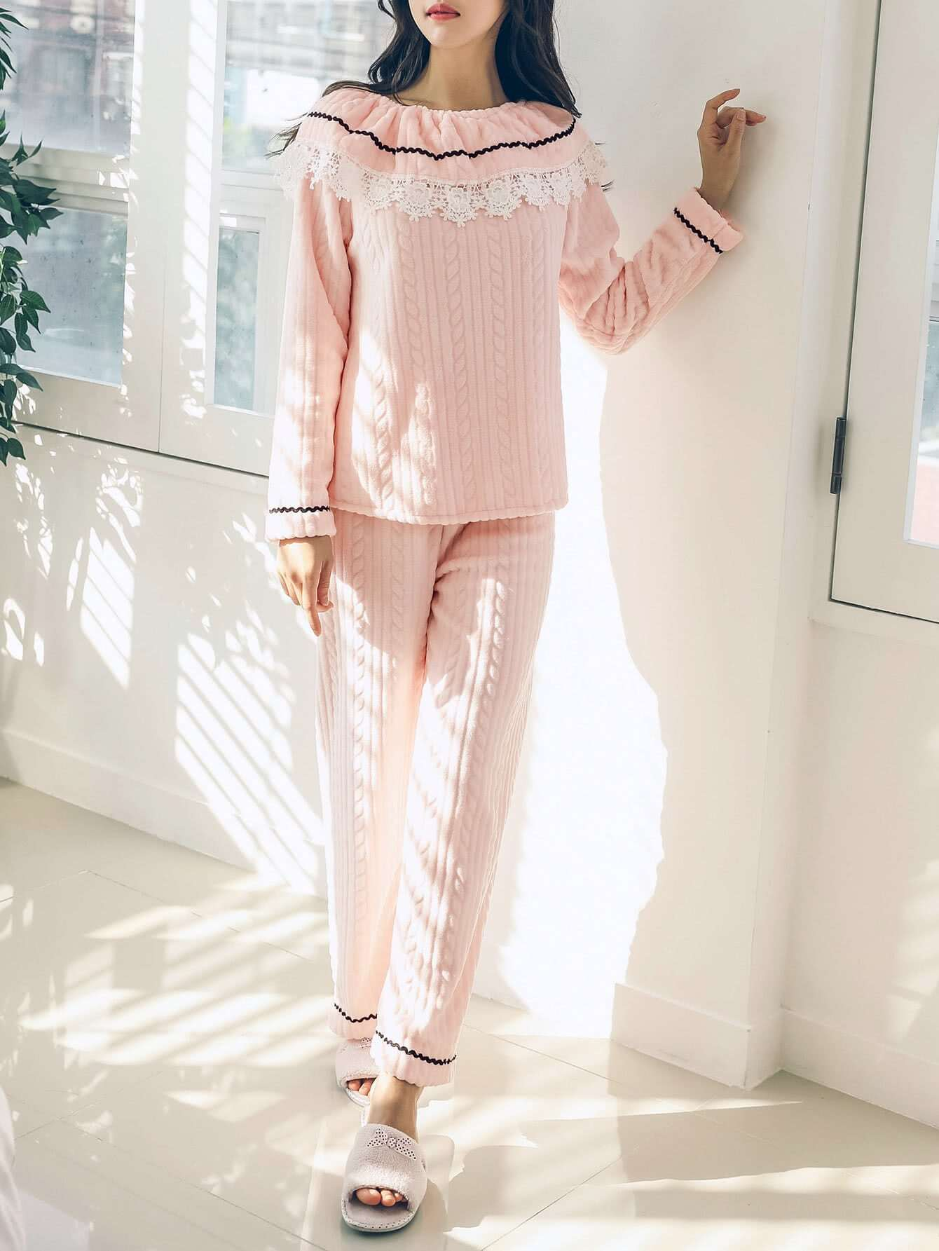 Contrast Lace Ruffle Textured Top & Pants Pj Set