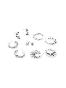 Geometric & Hollow Design Earring Set