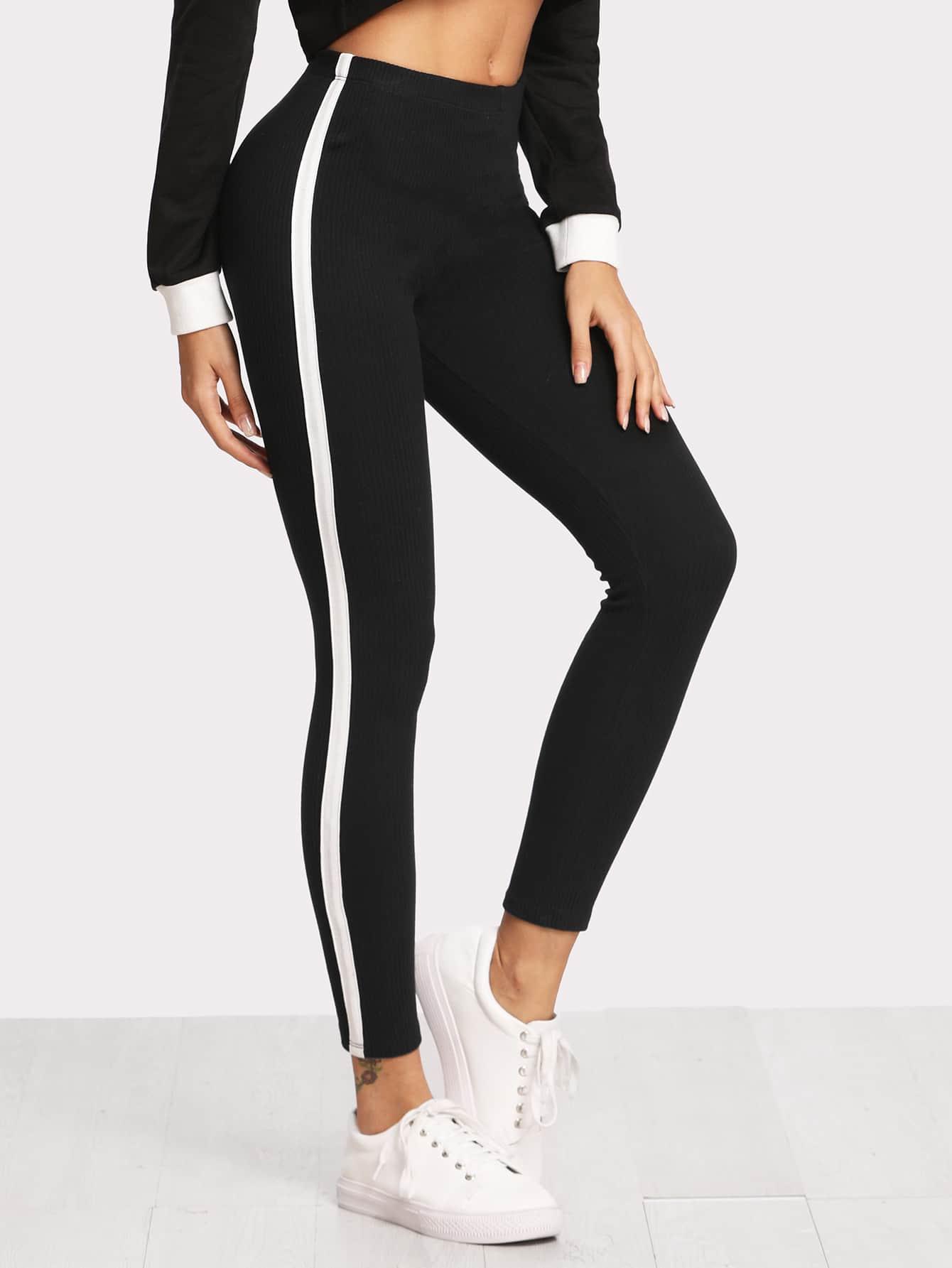 Stripe Contrast Side Leggings leggings171120030