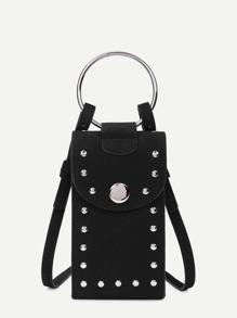 Studded Detail PU Pouch Bag