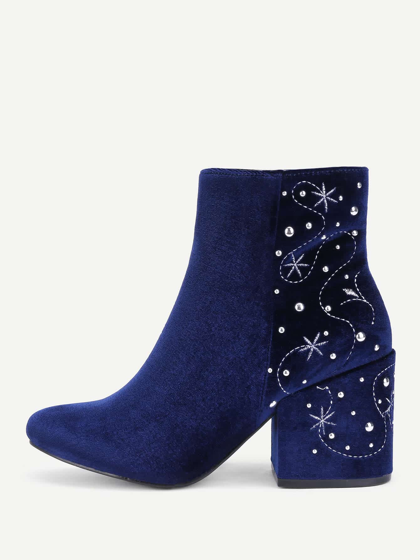 Embroidery & Rhinestone Detail Suede Boots стоимость