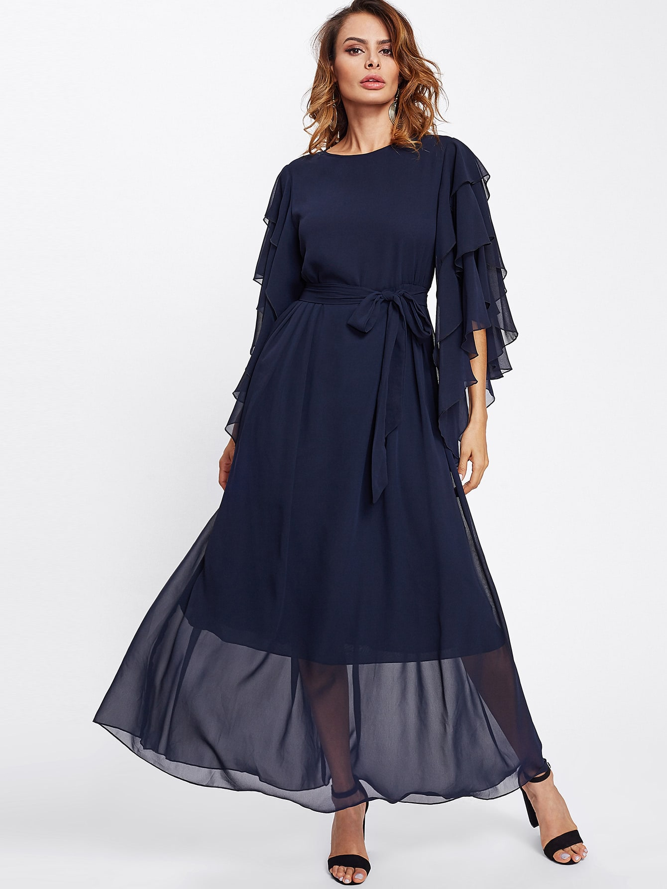 Layered Bell Sleeve Belted Hijab Evening Dress