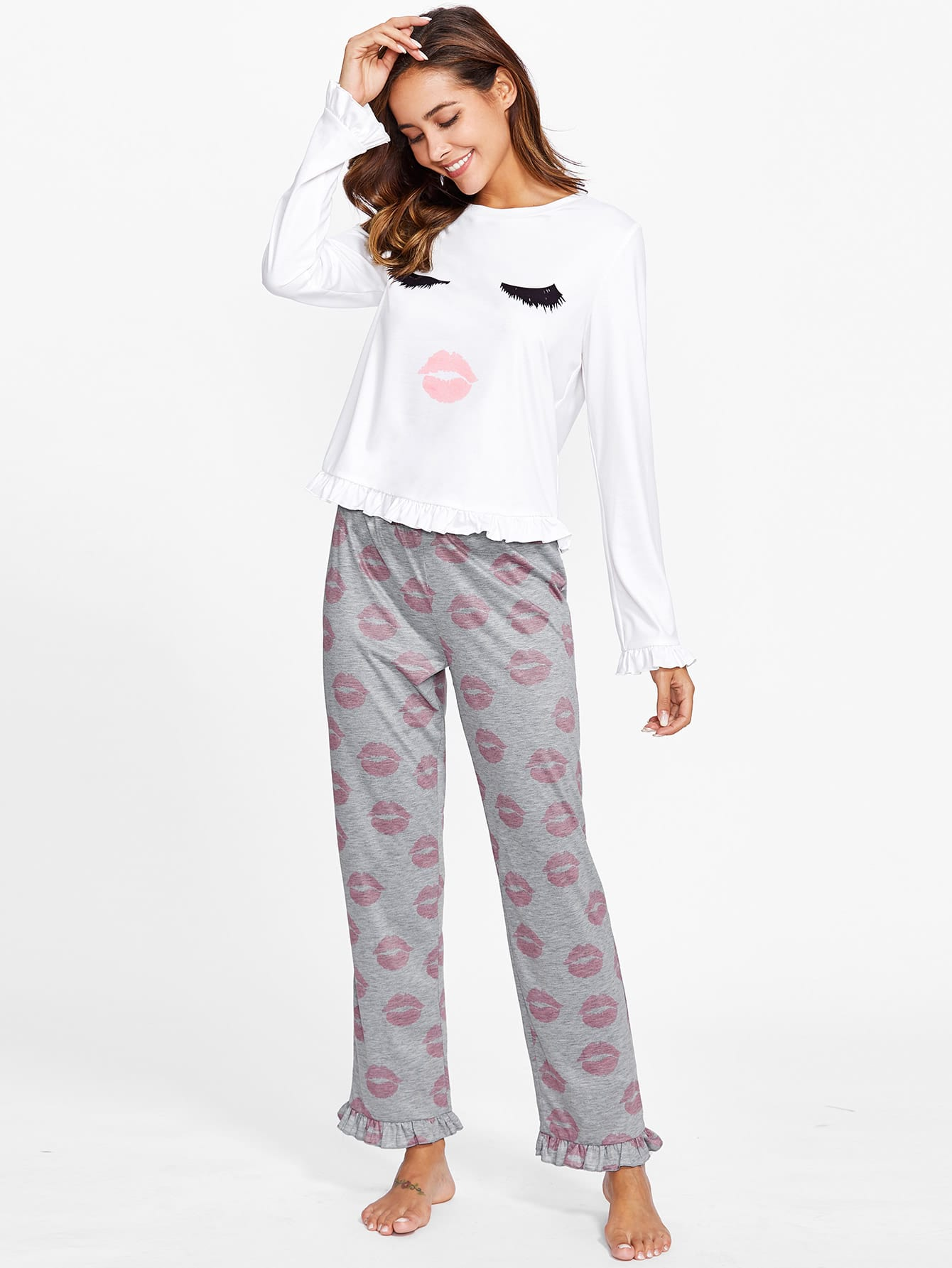Frill Trim Face Print Tee & Pants Pajama Set cartoon print frill trim cami pajama set