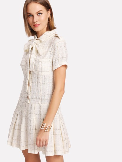 Tie Neck Gold Button Pleated Tweed Dress