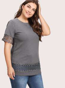 Hollow Out Crochet Panel Marled Tee
