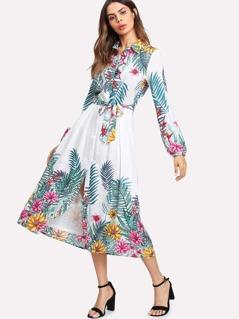 Tropical Print Belted Shirt Dress