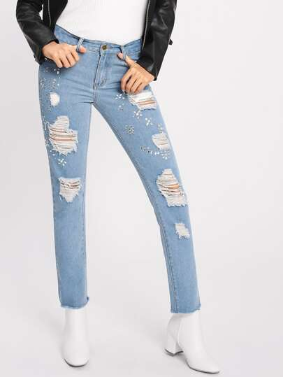 Studded Embellished Raw Hem Ripped Jeans