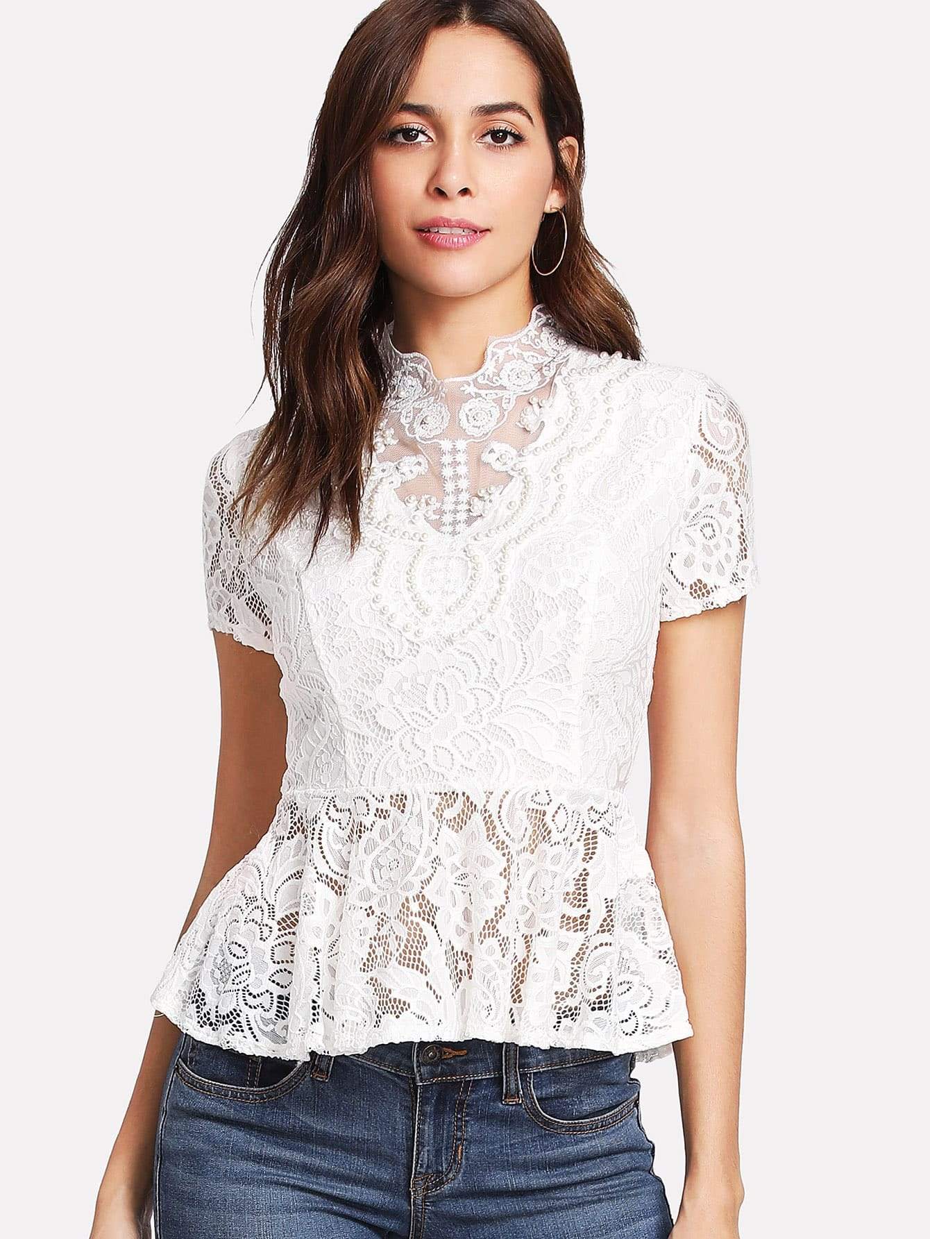 Pearl Beading Lace Peplum Top flounce sleeve faux pearl beading lace top