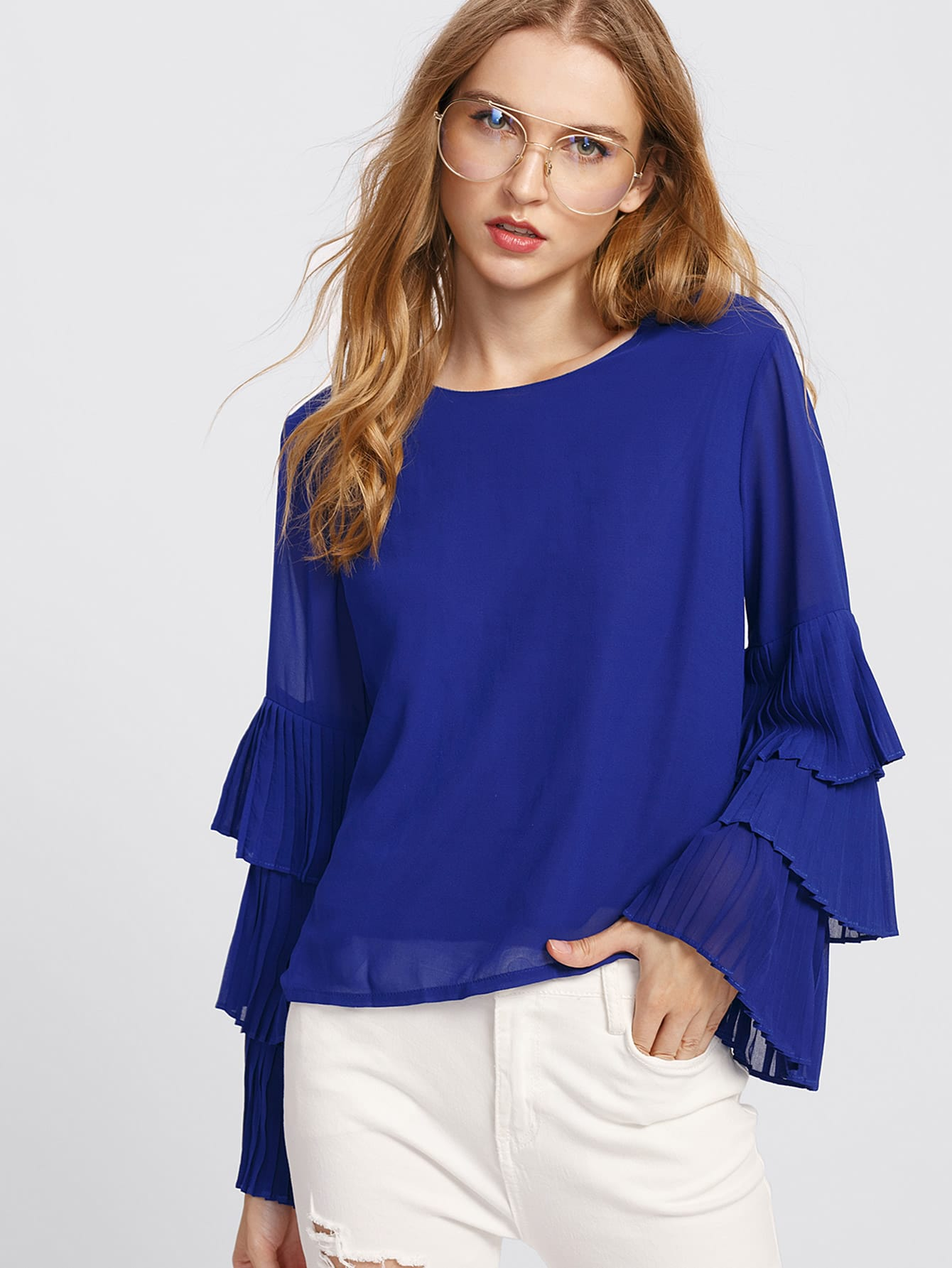 Tiered Frill Sleeve Layered Chiffon Blouse pearl detail layered frill sleeve top