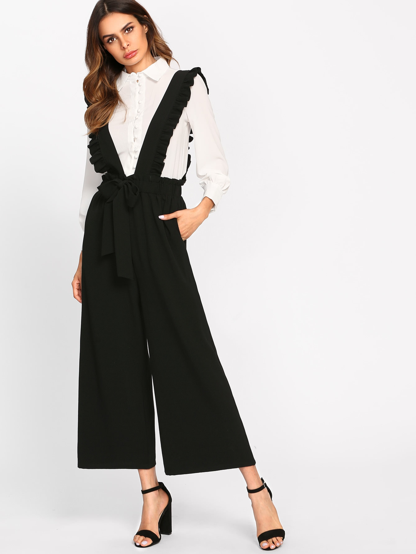 Image of Bow Tie Culotte Pants With Ruffle Strap