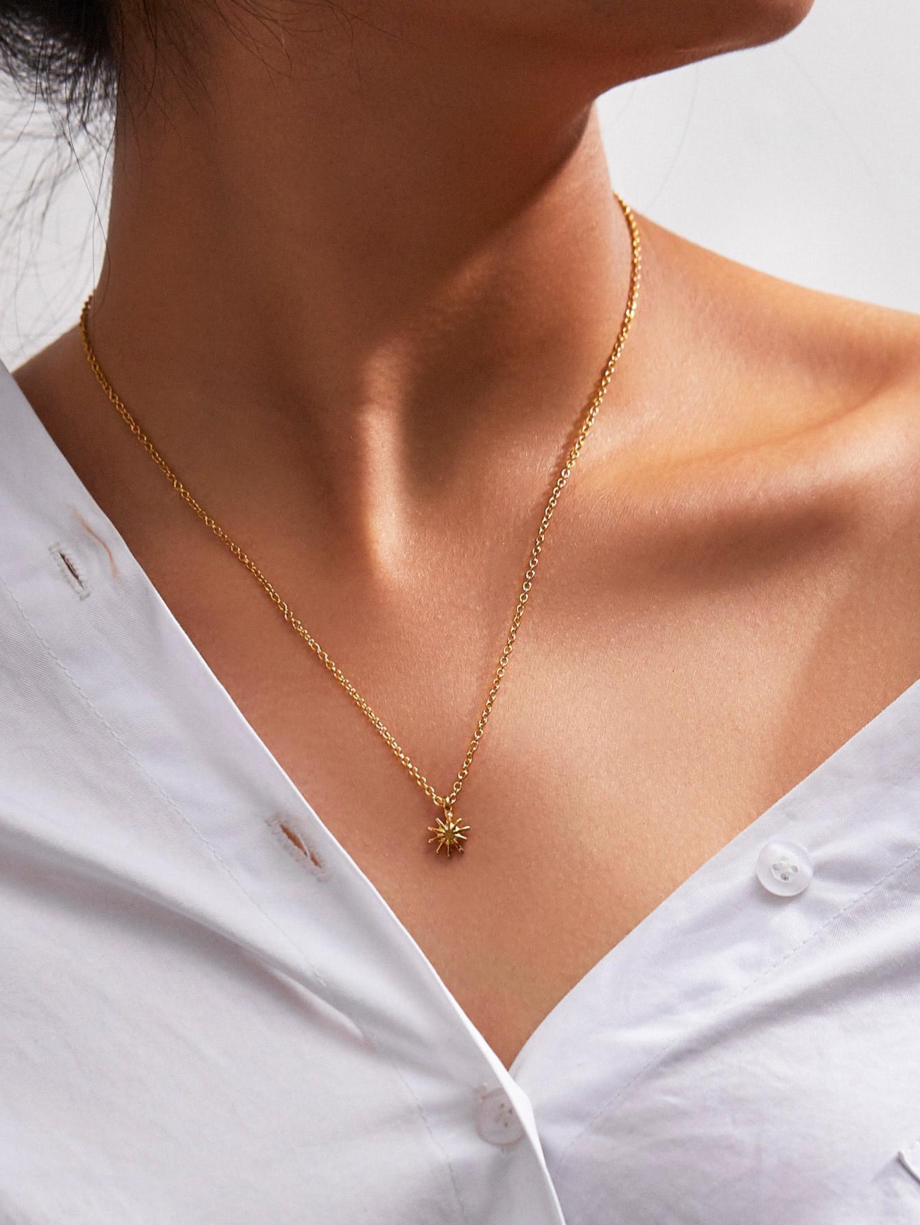Metal Sun God Pendant Chain Necklace мой малыш 12558