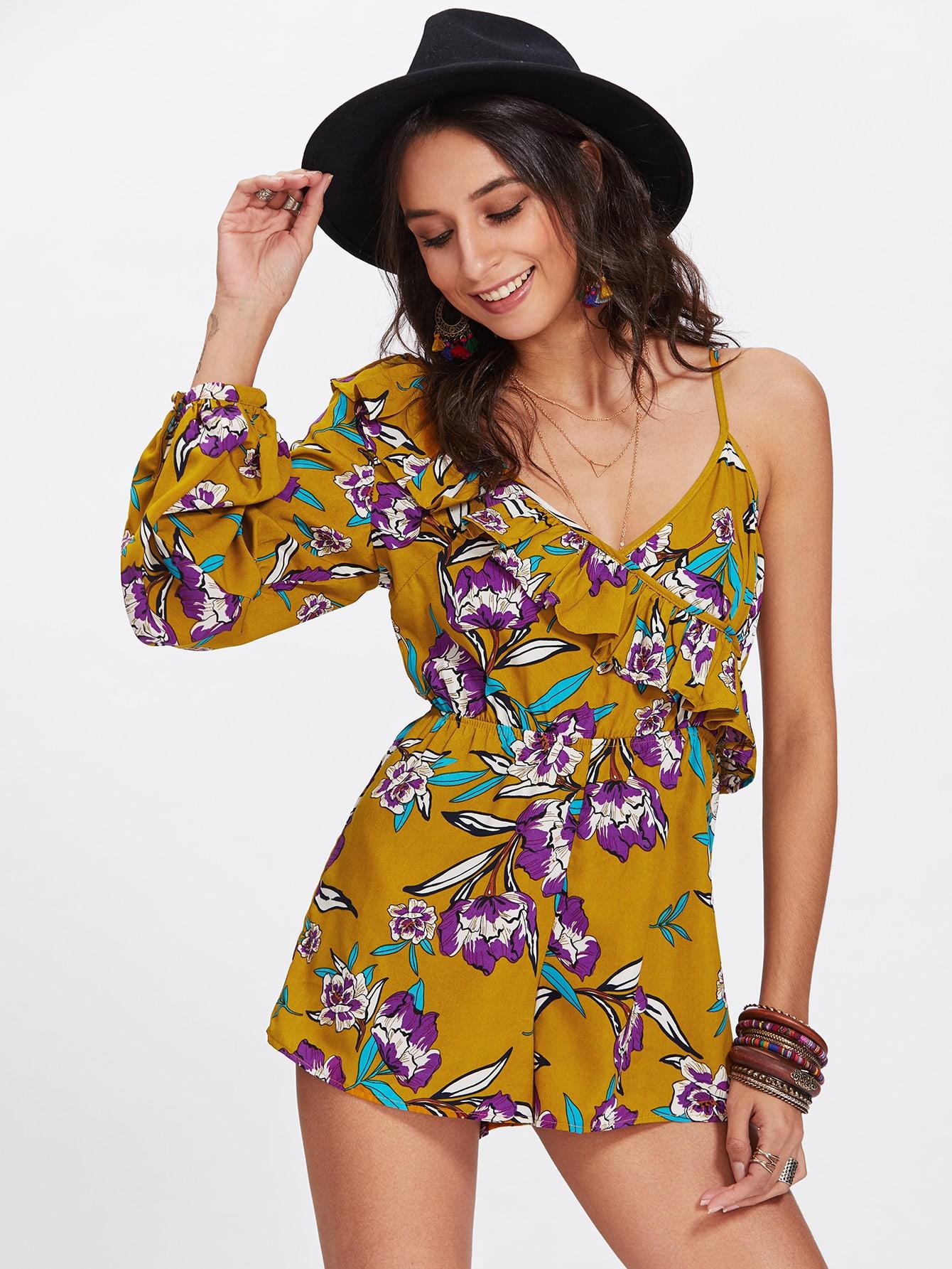 Frill Trim One Shoulder Floral Romper black one shoulder frill layered design jumpsuit