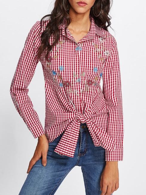 Tie Front Flower Embroidered Gingham Blouse karen kane new women s size large l navy red embroidered tie front blouse $119