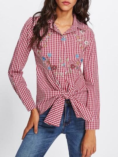 Tie Front Flower Embroidered Gingham Blouse