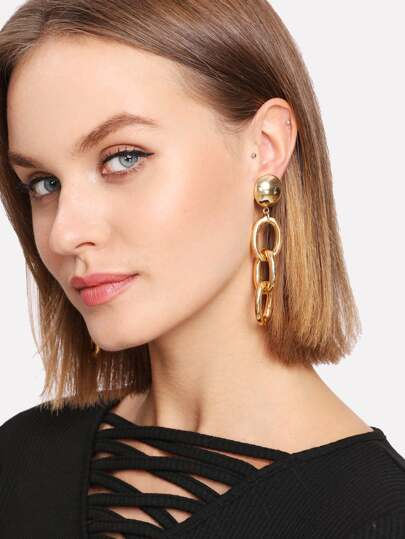 Three Ring Design Drop Earrings