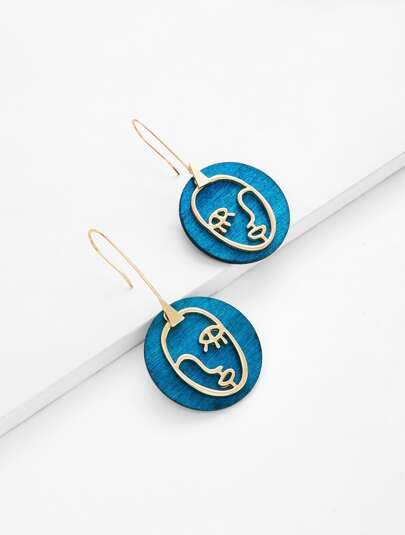Contrast Face Design Drop Earrings