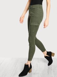 Mid Rise Side Pocket Cargo Pants OLIVE