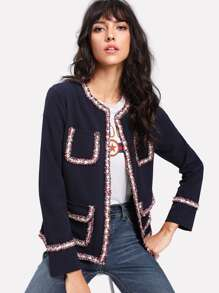 Contrast Frayed Trim Pocket Front Blazer