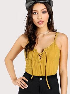 Lace Up Rib Knit Cami Top
