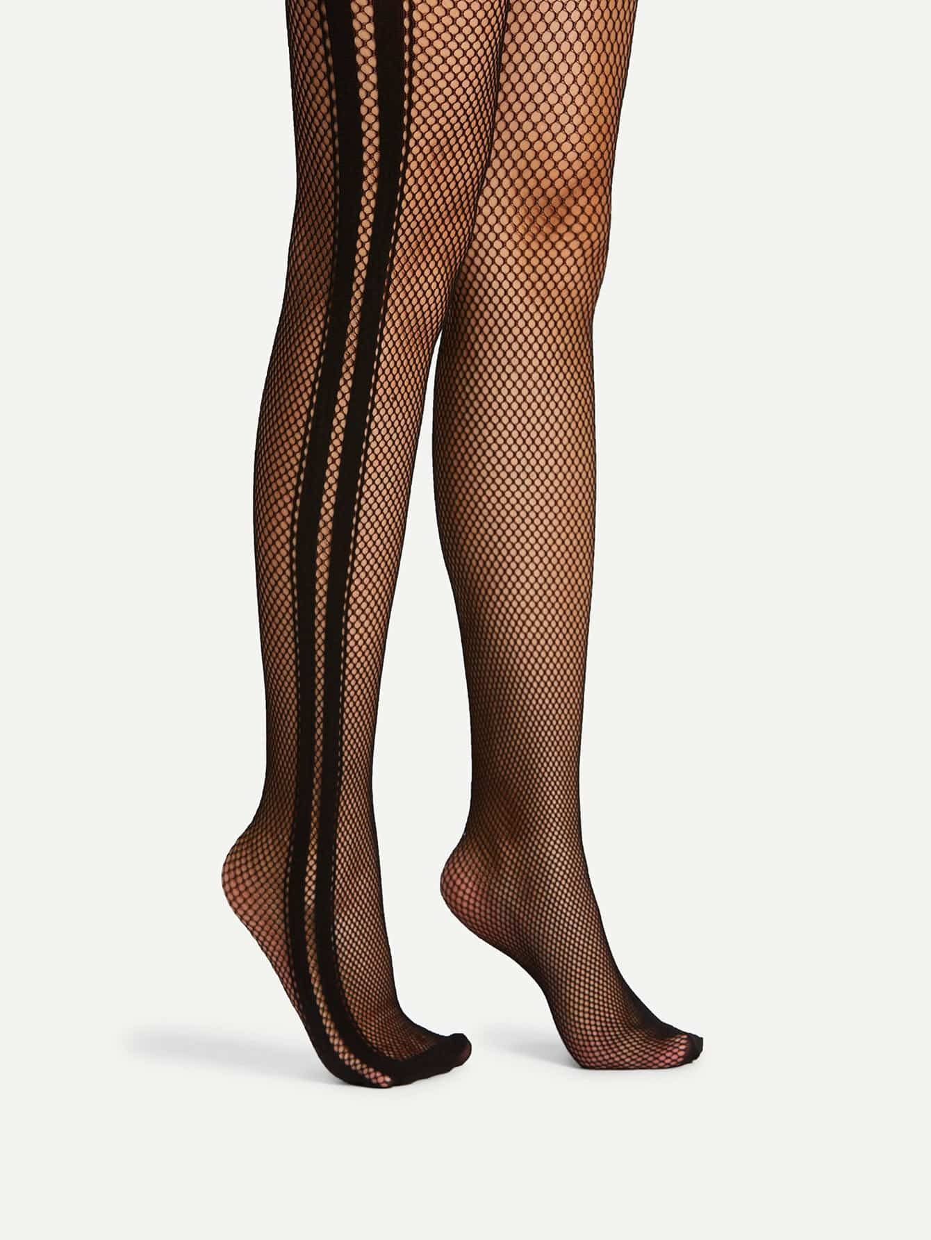Contrast Tape Fishnet Tights