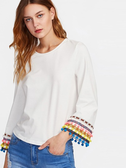 Colorful Pompom And Embroidery Tape Cuff Top