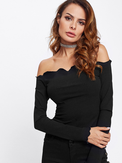 Scalloped Bardot Neck Rib Knit Tee