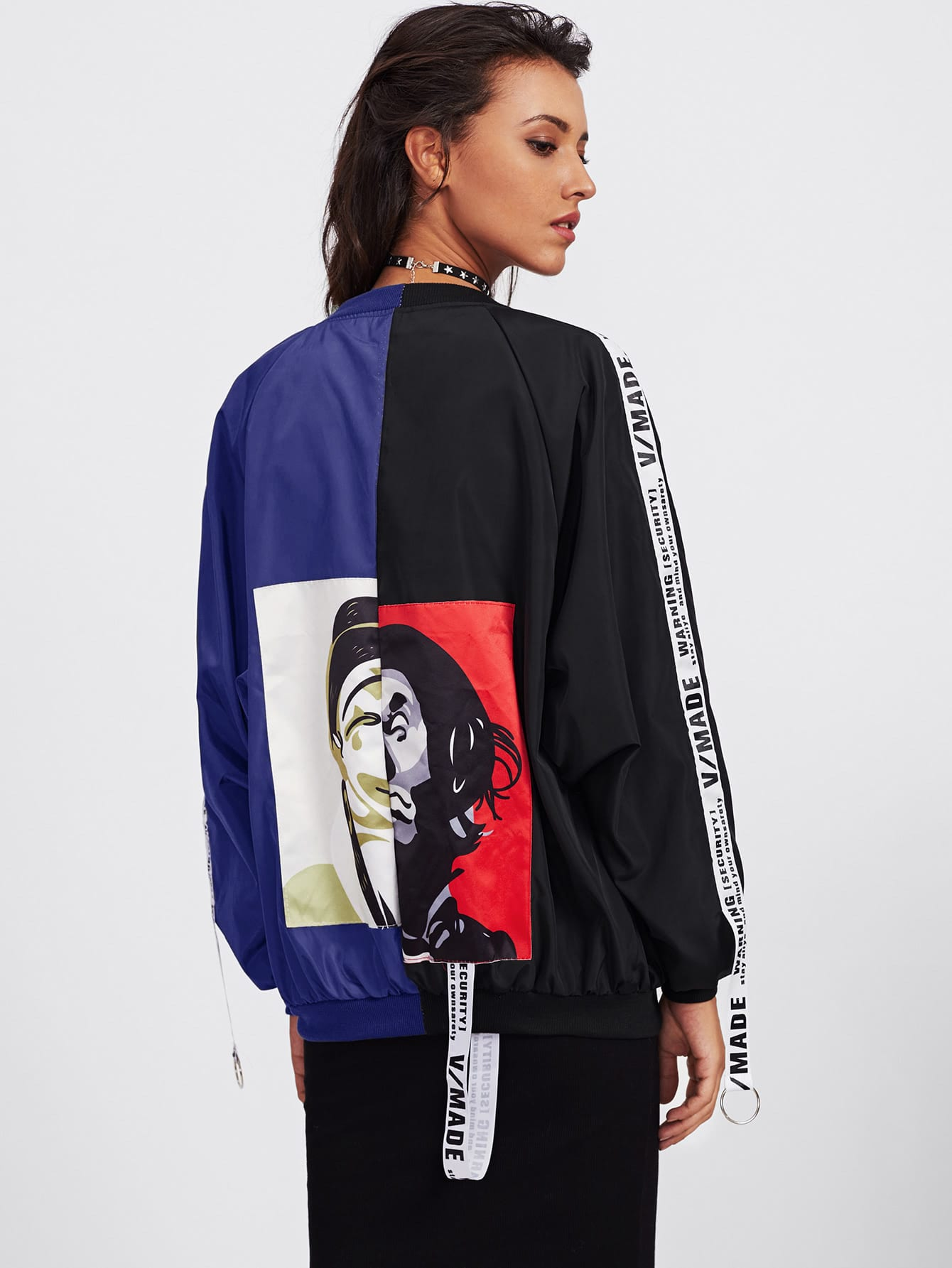 Patch Back Ribbon Detail Two Tone Bomber Jacket two tone letter tape detail hooded jacket