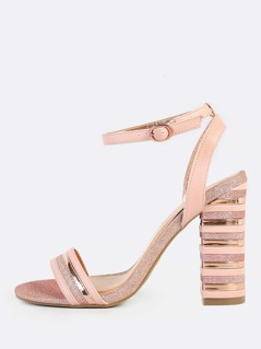 Mixed Media Striped Band Heels ROSE