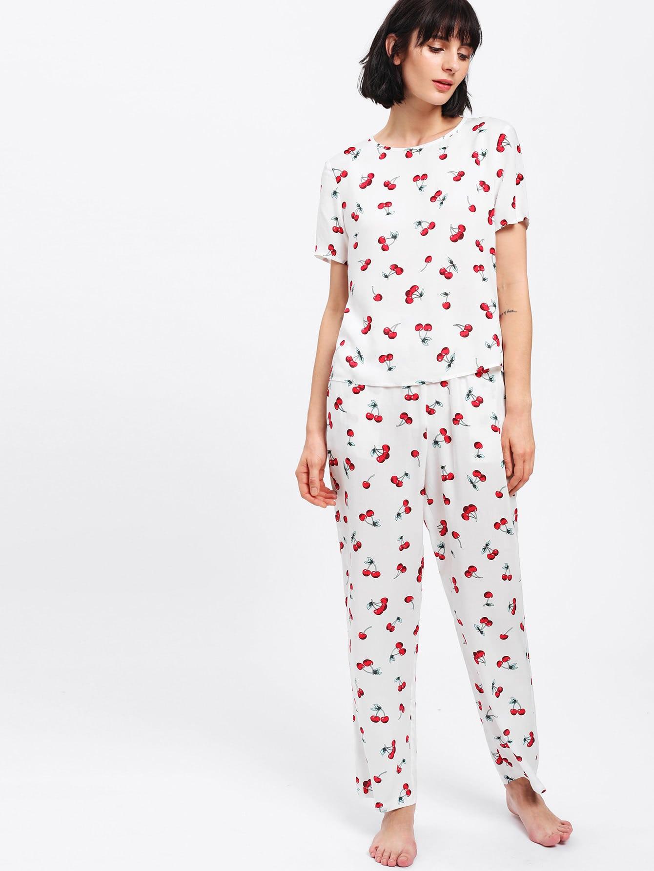 Allover Cherry Print Tee & Pants Pj Set
