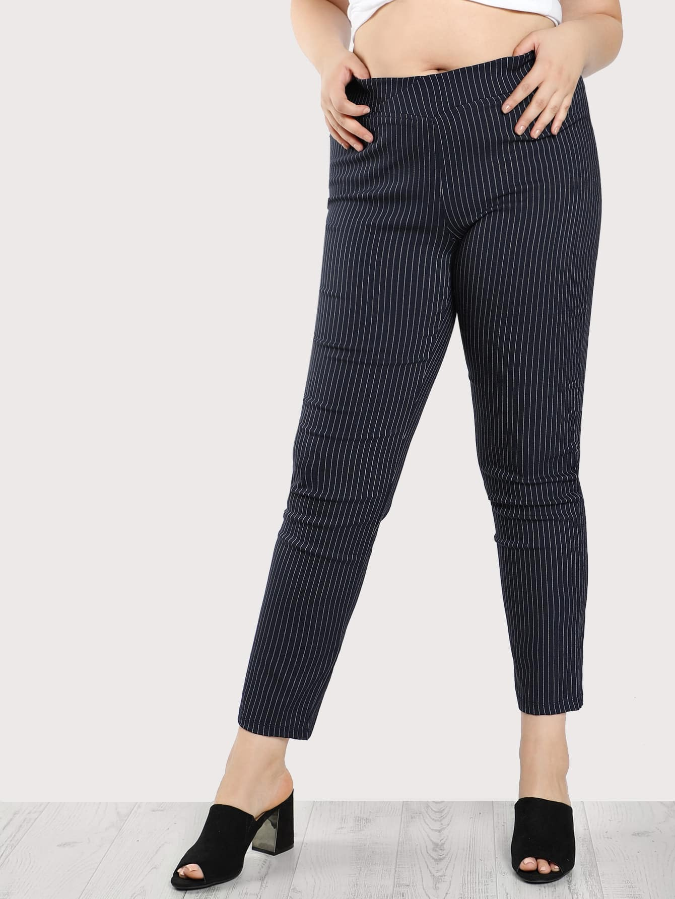Image of Elasticized Waist Pinstripe Pants