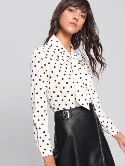 Bow Tie Neck Dot Print Blouse