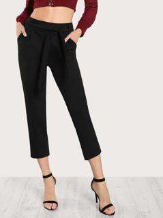 Tie Waist Pocket Side Pants