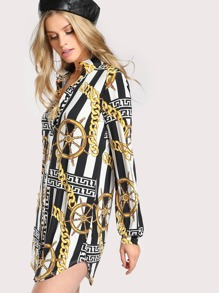 Gold Chain Print Long Sleeve Button Up Dress BLACK WHITE